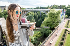Woman traveling in Luxembourg Stock Images
