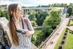 Woman traveling in Luxembourg Royalty Free Stock Photo