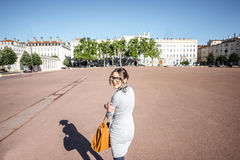 Woman traveling in Lyon Royalty Free Stock Image