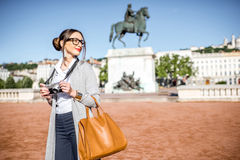 Woman traveling in Lyon Royalty Free Stock Images