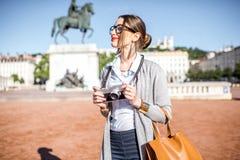 Woman traveling in Lyon Stock Photo