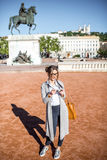 Woman traveling in Lyon Stock Images