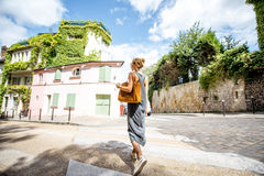 Woman traveling in Momartre district of Paris Stock Image