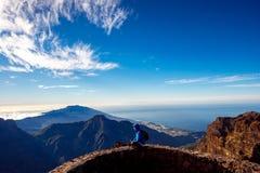 Woman traveling mountains on La Palma island Royalty Free Stock Photo