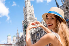 Woman traveling in Munich Stock Photos