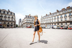 Woman traveling in Nantes city, France Royalty Free Stock Images