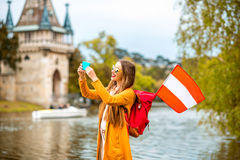 Woman traveling near the austrian castle Royalty Free Stock Images