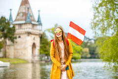 Woman traveling near the austrian castle Stock Images