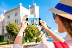 Woman traveling near Miramare castle stock photo