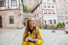 Woman traveling in Nurnberg city, Germany Stock Images