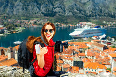 Woman traveling in old city Kotor, Montenegro Royalty Free Stock Photo