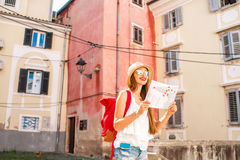 Woman traveling in the old town Royalty Free Stock Photography
