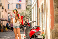 Woman traveling in the old town Stock Image