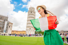 Woman traveling in Pisa old town Stock Photo