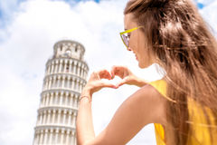 Woman traveling in Pisa old town Royalty Free Stock Photo