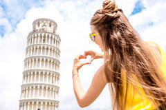 Woman traveling in Pisa old town Royalty Free Stock Images