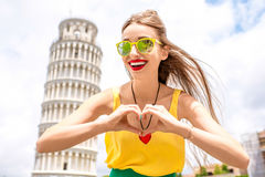 Woman traveling in Pisa old town Stock Image
