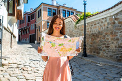 Woman traveling in Plovdiv old city center Royalty Free Stock Image