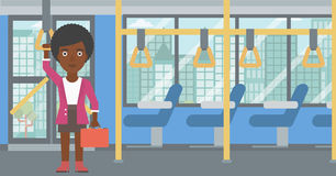 Woman traveling by public transport. Royalty Free Stock Photos