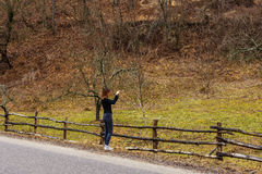 Woman traveling through Romania. Domogled Stock Images