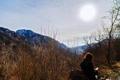 Woman traveling through Romania. Domogled Royalty Free Stock Photography