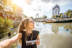 Woman traveling in Rotterdam Royalty Free Stock Image