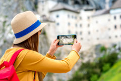 Woman traveling in Slovenia stock photo