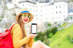 Woman traveling in Slovenia Royalty Free Stock Photography