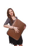 Woman traveling with suitcase  on white Royalty Free Stock Photos
