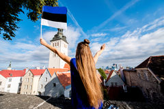 Woman traveling in Tallinn Royalty Free Stock Photography