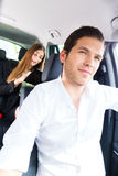Woman traveling in taxi, she has an appointment Stock Image