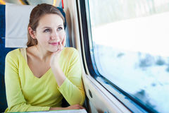 Woman traveling by train Royalty Free Stock Images