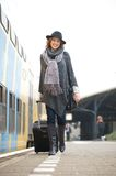 Woman Traveling by Train Stock Photos
