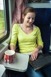 Woman traveling by train Stock Photography
