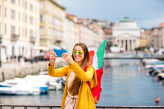 Woman traveling in Trieste city in Italy Royalty Free Stock Photos