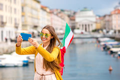 Woman traveling in Trieste city in Italy Stock Photo