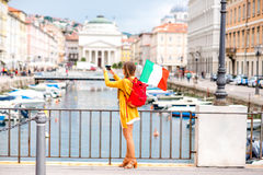 Woman traveling in Trieste city in Italy Royalty Free Stock Photography
