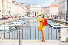 Woman traveling in Trieste city in Italy Royalty Free Stock Images