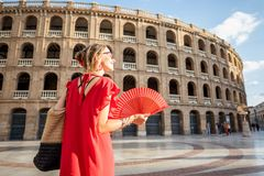 Woman traveling in Valencia city stock photo