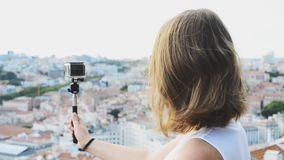 Woman traveller with camera. Woman traveller with camera shooting video stock video footage