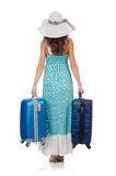 Woman traveller with suitcase isolated Stock Photography