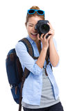Woman traveller taking photo Stock Photography