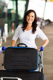 Woman travelling air. Beautiful young woman travelling by air Stock Images