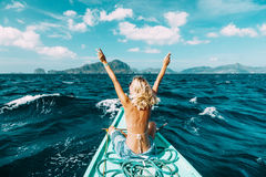 Woman travelling on the boat in Asia Royalty Free Stock Images