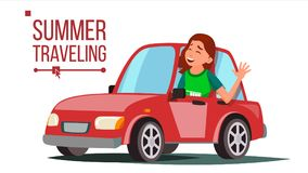 Woman Travelling By Car Vector. Girl In Summer Vacation. Driving Machine. Rides In The Car. Road Trip. Side View Royalty Free Illustration