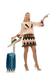The woman in travelling concept on white. Woman in travelling concept on white Stock Image