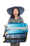 The woman in travelling concept on white Stock Photos