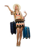 The woman in travelling concept on white Stock Images