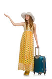 The woman in travelling concept on white Royalty Free Stock Photography