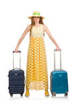 The woman in travelling concept on white Royalty Free Stock Photos